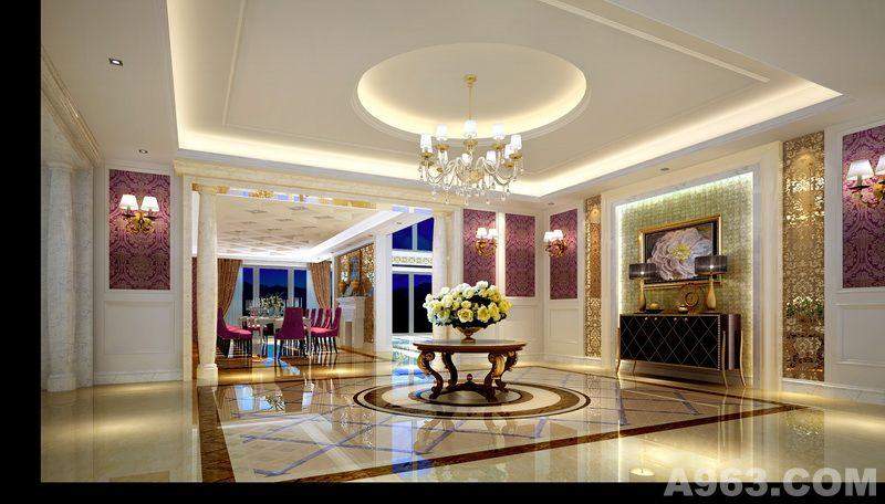 墙面紫色欧式花纹墙纸与暗金色不锈钢花纹装饰