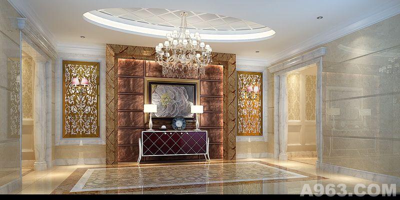 宫殿般别致优雅的前厅设计,墙面地面采用了白色,米黄,米白大理石,圆形图片