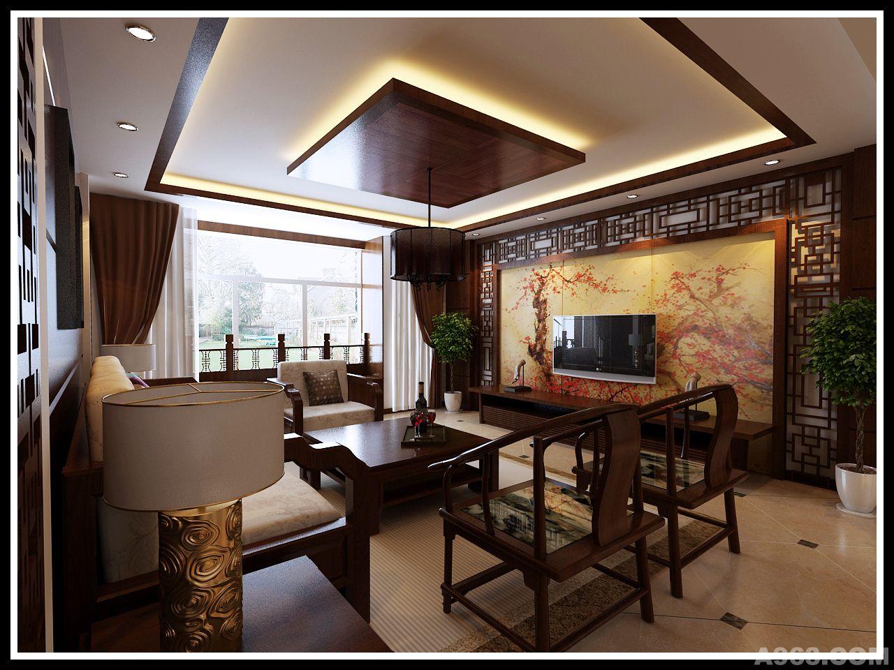 大面积墙面处理运用象牙白为主色调,中国风特色的壁画作为作为点缀,色