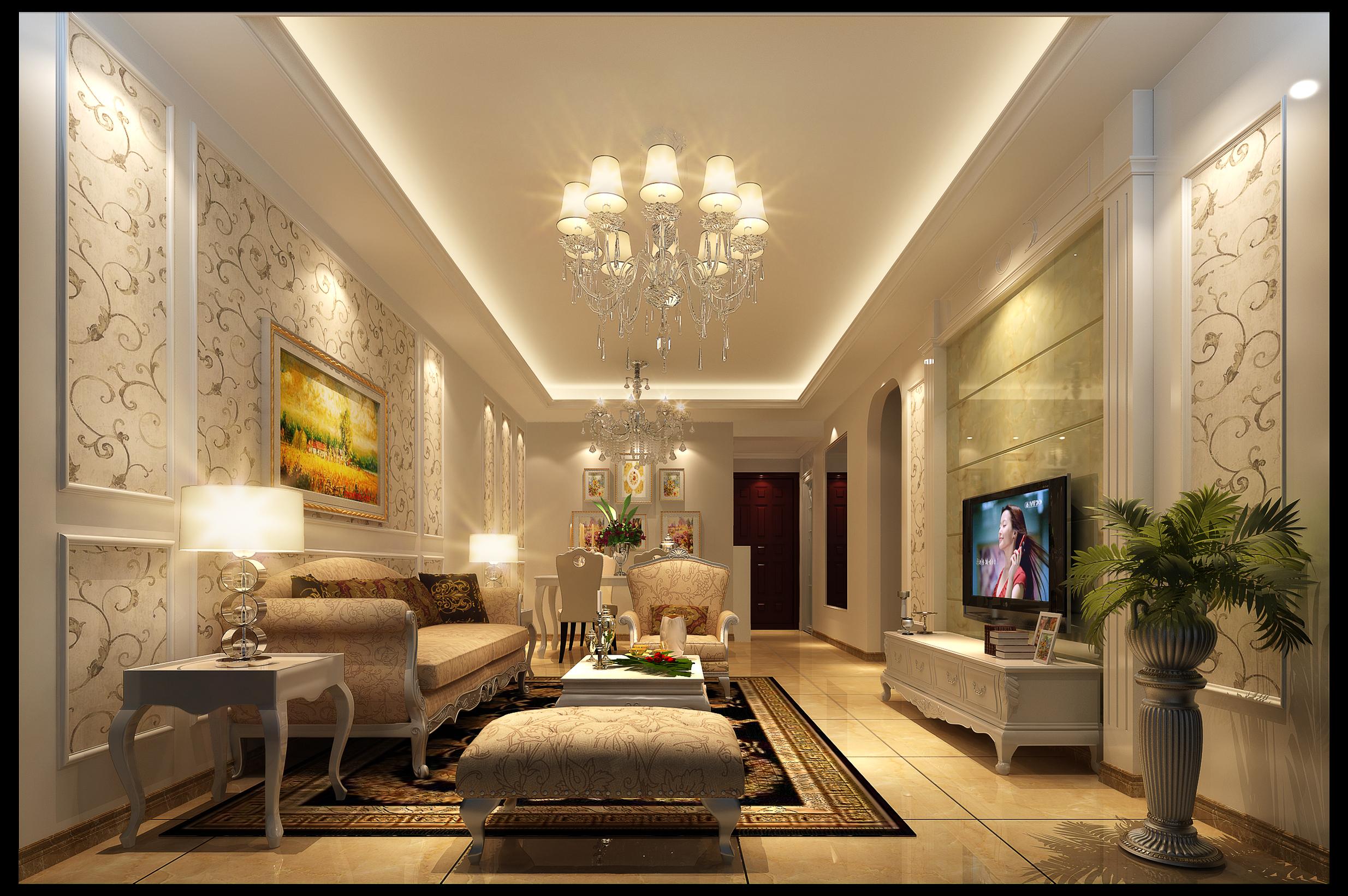 欧式木线条电视背景墙装修效果图