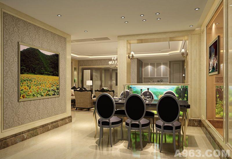 餐厅的设计超脱了传统欧式风格繁复的线条造型