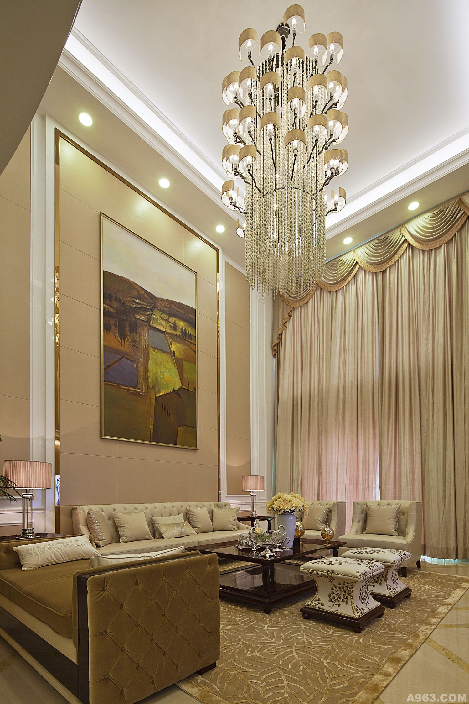 欧式风格不绣钢线条装修效果图客厅