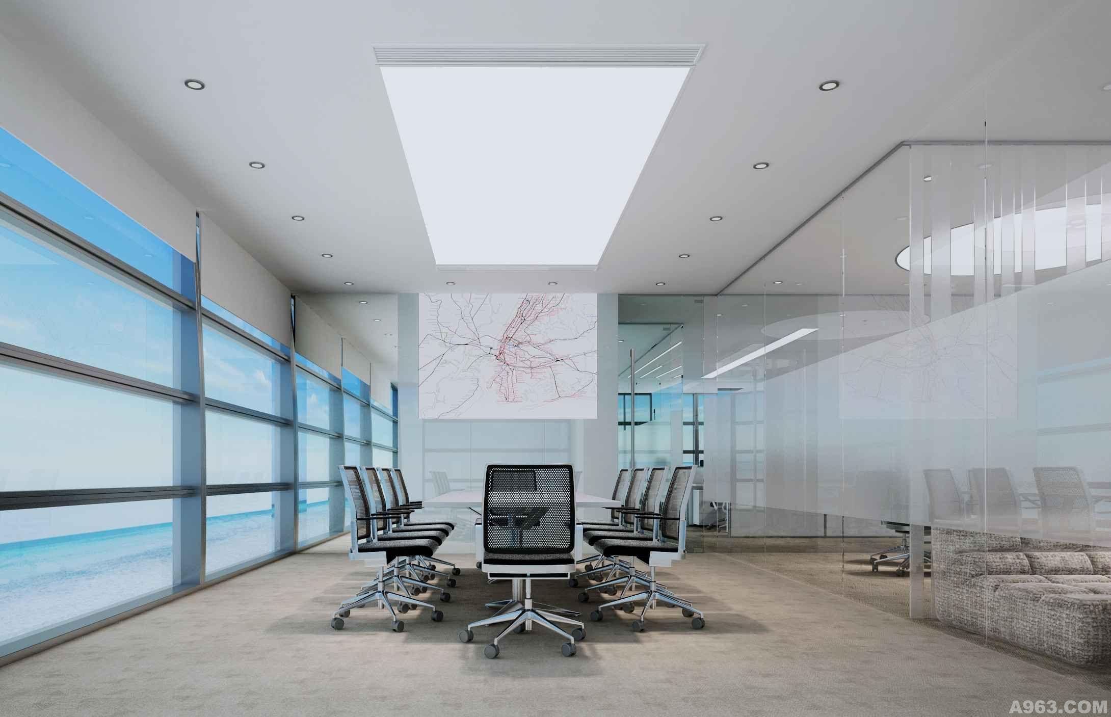 中型会议室:直白的空间无须多言,简单的灯膜照应着会议桌,完全虚化处理的玻璃隔墙与外墙形成透明无视的呼应。在这里只有一桌人一件事,一种解决之道。