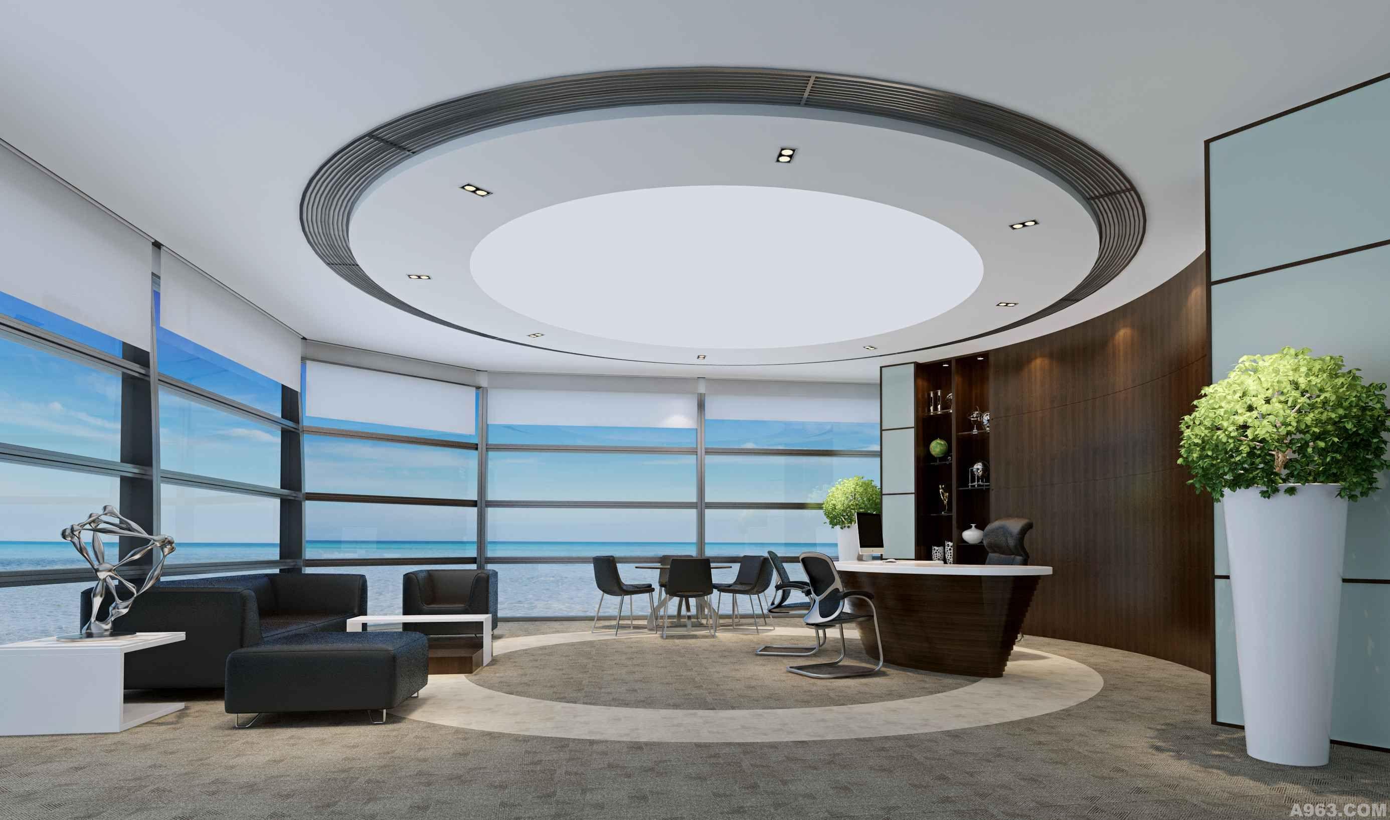 总经理室:圆融的空间造型象征着企业的核心竞争力,也能将窗外壮阔的山海景色与工作的细致规整做良好的定位区分。精致的人文雕塑体现了领导者的品位,包容式的背景造型和贴面木材给人以一种亲切、稳定的承托感。