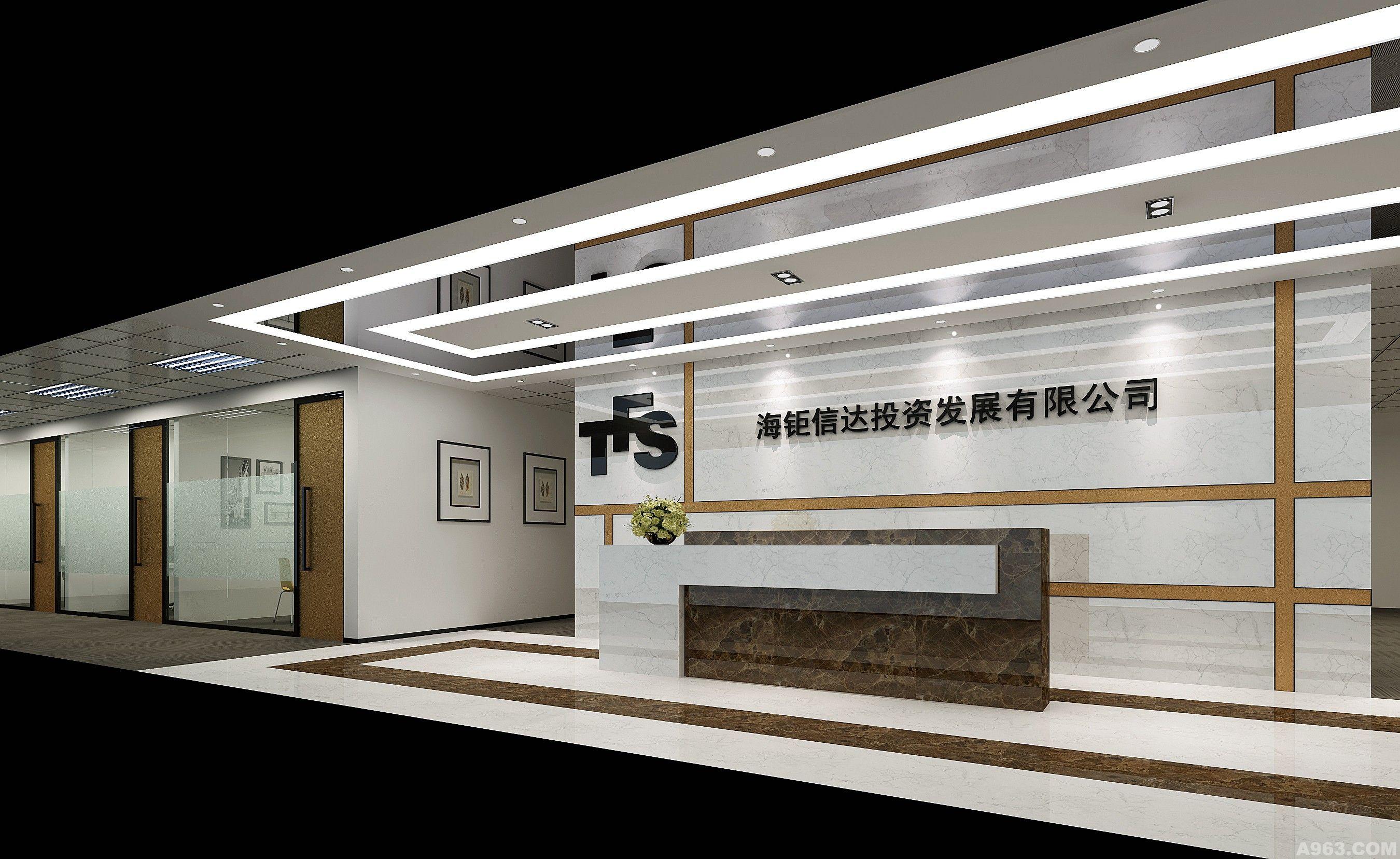 前厅:天花上的不锈钢造成了波特曼效应,暗金色的线条和理性时尚的大理石效果相互映衬。优雅的接待台配色统一于地面拼花。从容面对每天的挑战。