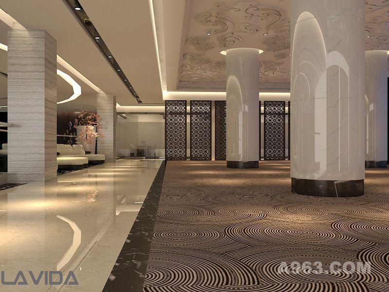 材质:镂空雕花隔断,木纹大理石,地毯,   整个空间呈圆形,在原来结构