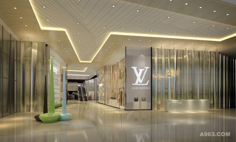 阳光和室内灯光互相结合的效果,打造一个明亮且富有气氛的商场环境.