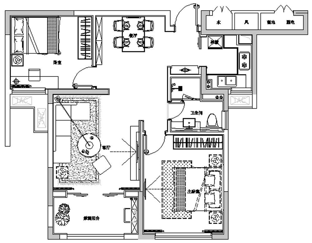 90平米a 2户型样板房平面图高清图片