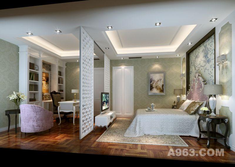 墙面是米色欧式花纹墙纸,素雅清丽,床头背景亦是素雅的花纹装饰,电视