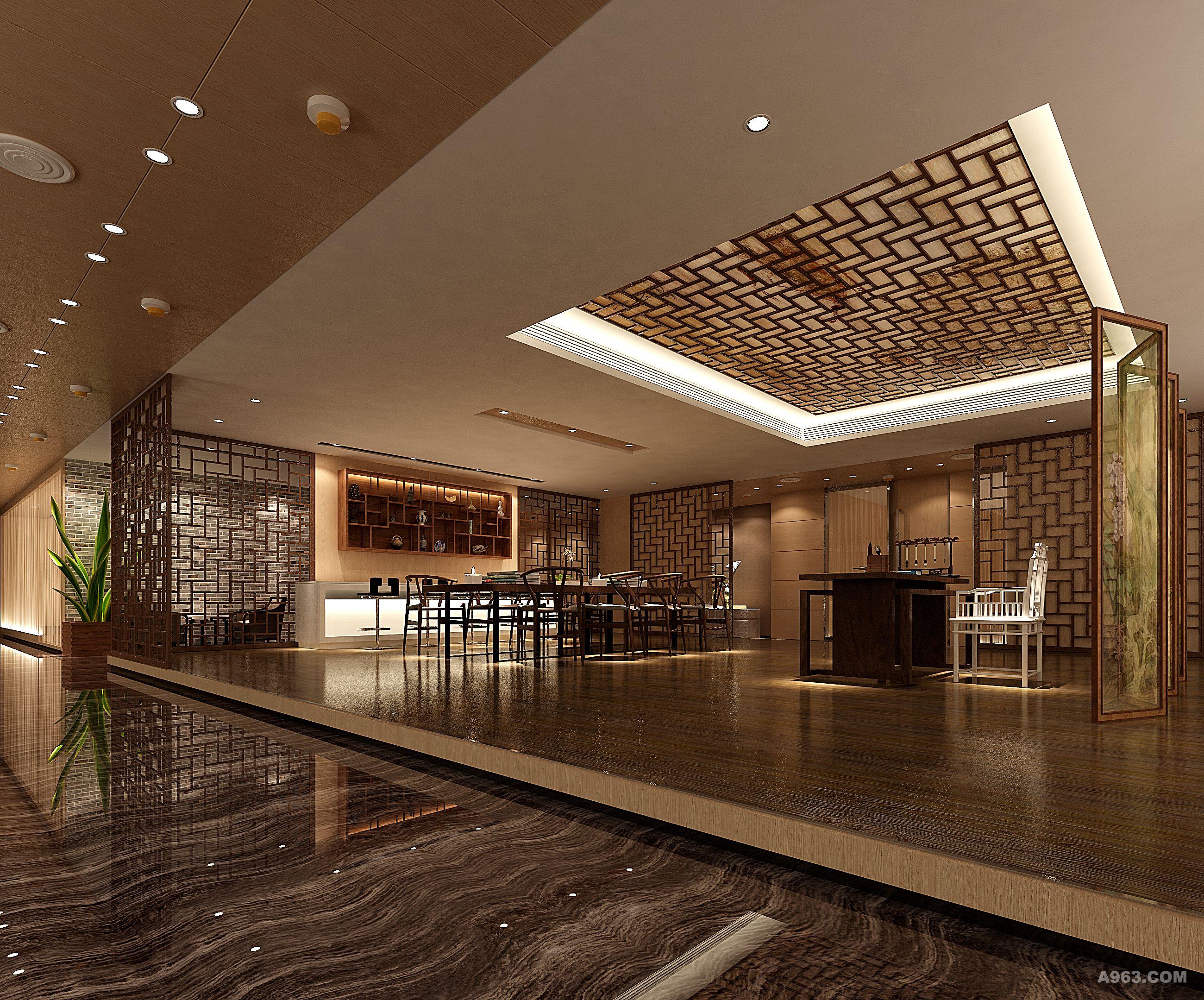 企业的形象设计:针对门厅入口建筑平面开间宽,进深窄的缺点,我们将