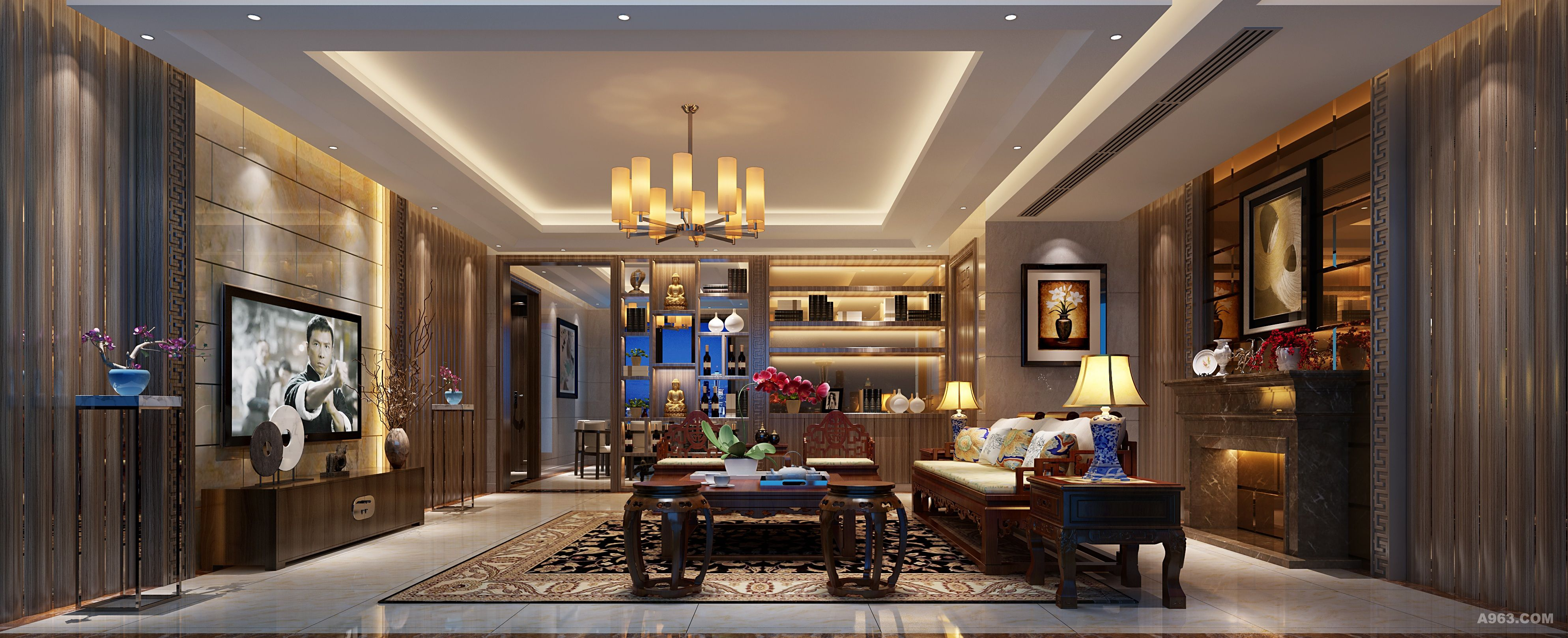 后立面有壁炉,电视机背景有玉石,在中式沙发的烘托下,把中西文化完美