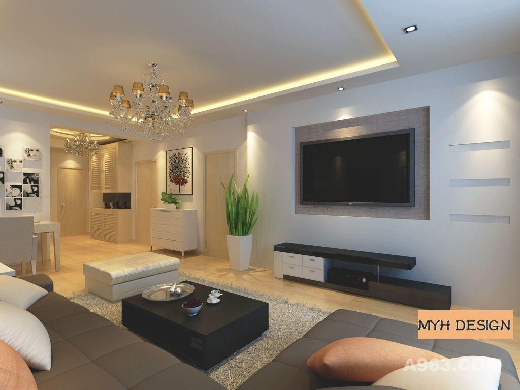 客厅电视背景墙石膏板造型:简洁的几个长方形几何体:大与小的对比如同