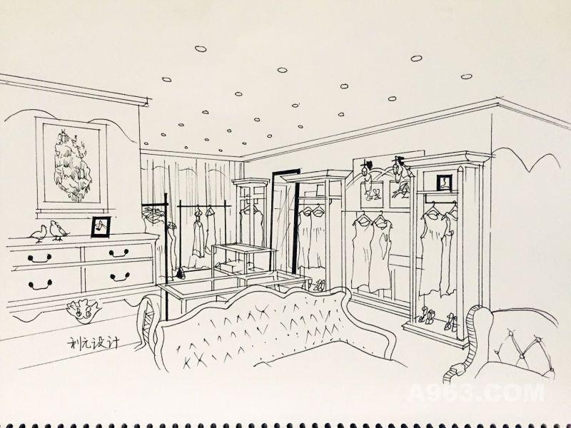 服装店面空间手绘图片