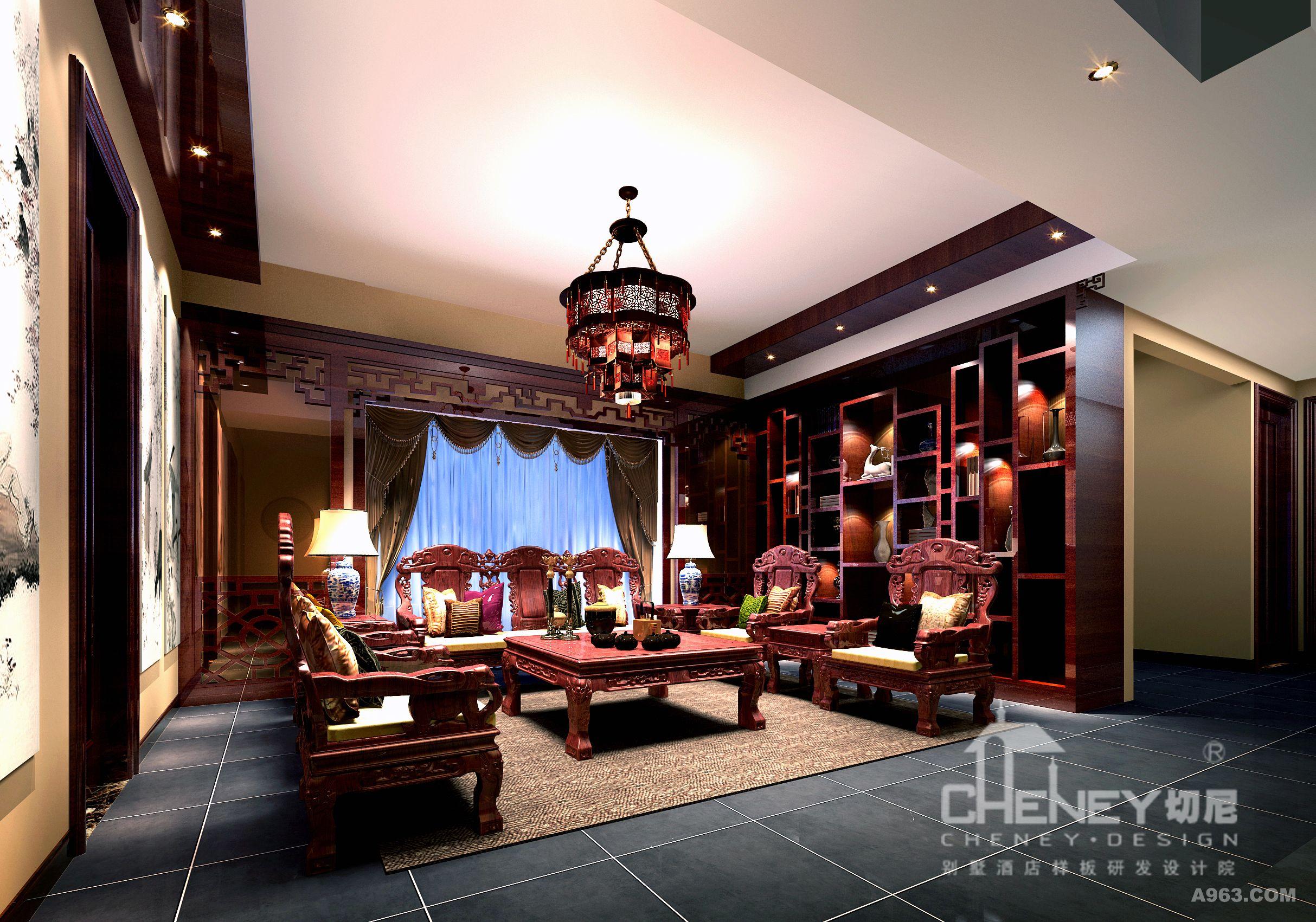 中式的居室有的不仅雍容华贵,而且平静而禅意。通过完美的线条,精益求精的细节处理,带给人庄重与优雅双重气质。 中式风格造型讲究对称,色彩讲究对比,装饰材料以木材为主图案多龙、凤、龟、狮等,精雕细琢、瑰丽奇巧。 客厅地面材质用青石砖搭配红木家具,红木展示柜对称中有不规则打破沉闷,不对称中有对称有中式的稳重。大窗户两边用了茶镜来拉伸空间感,让客厅瞬间放大很多,也打破了中式的严肃感。电视背景用了中式的典型窗花,窗花配青石砖墙显得空间更有意境。餐厅区域用了地面台高,拉出空间层次感。 主人房用了欧式元素来体现卧室的舒