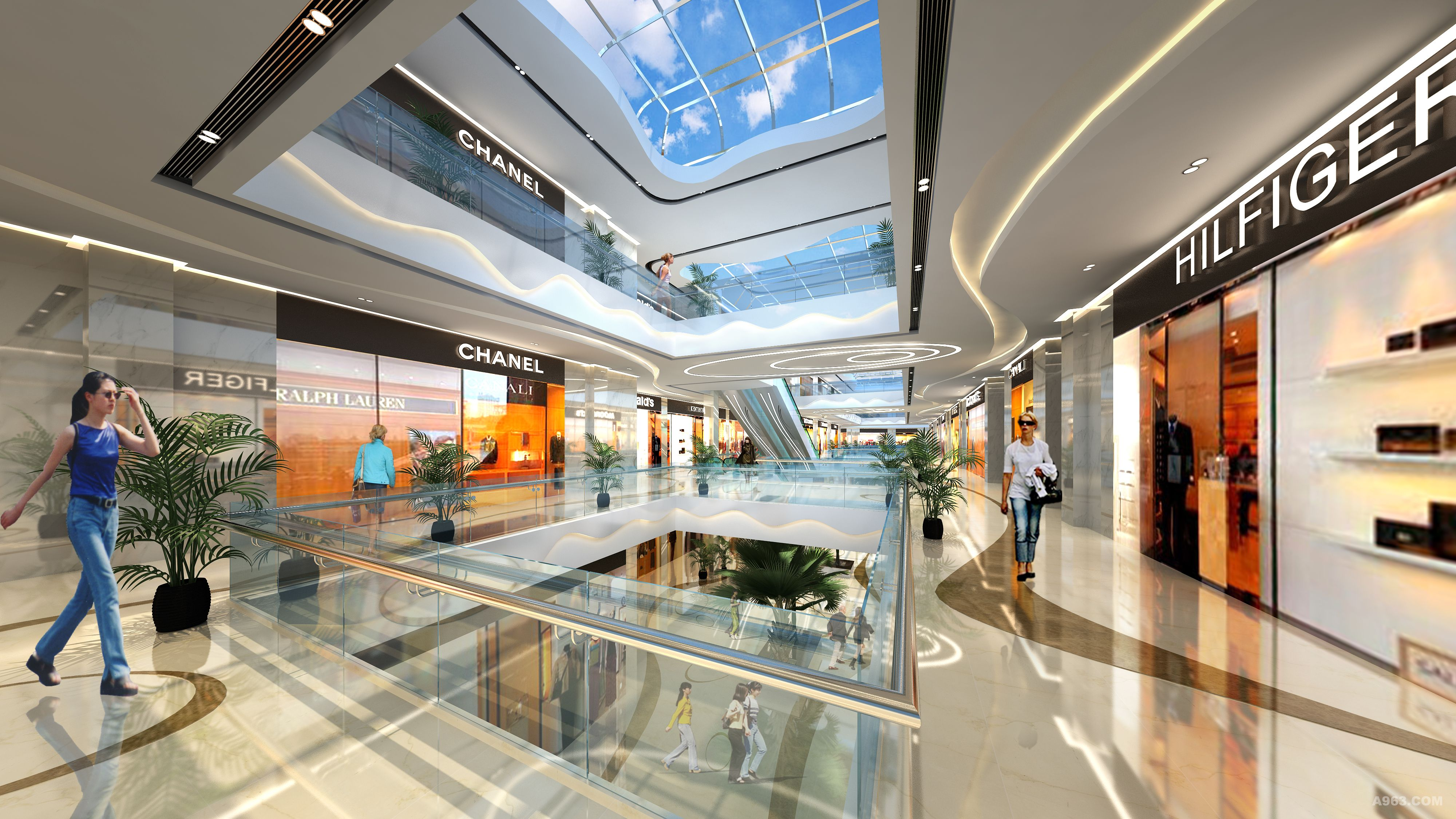 超前设计构思的商场装修效果图出自广东天霸设计之手-连廊