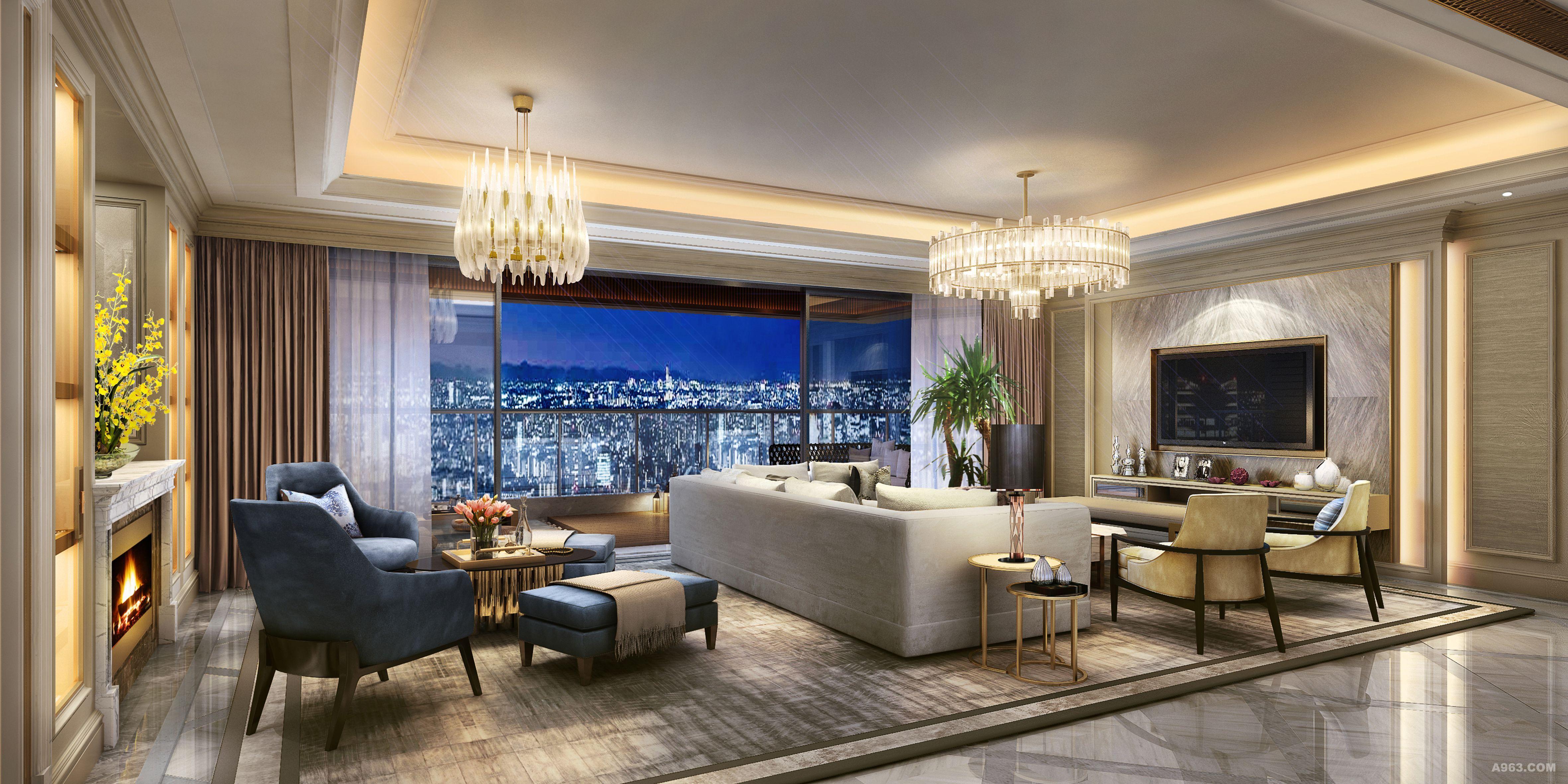 客厅:客厅整体空间以暖棕色为主,使其充满生命活力,张扬又不失尊贵和品质感。 主卧:卧室作为私密空间保持静谧以及这一份零距离的舒适,不那么浮华也不矫揉造作却依然保留着简欧家饰的那一份惬意和浪漫。