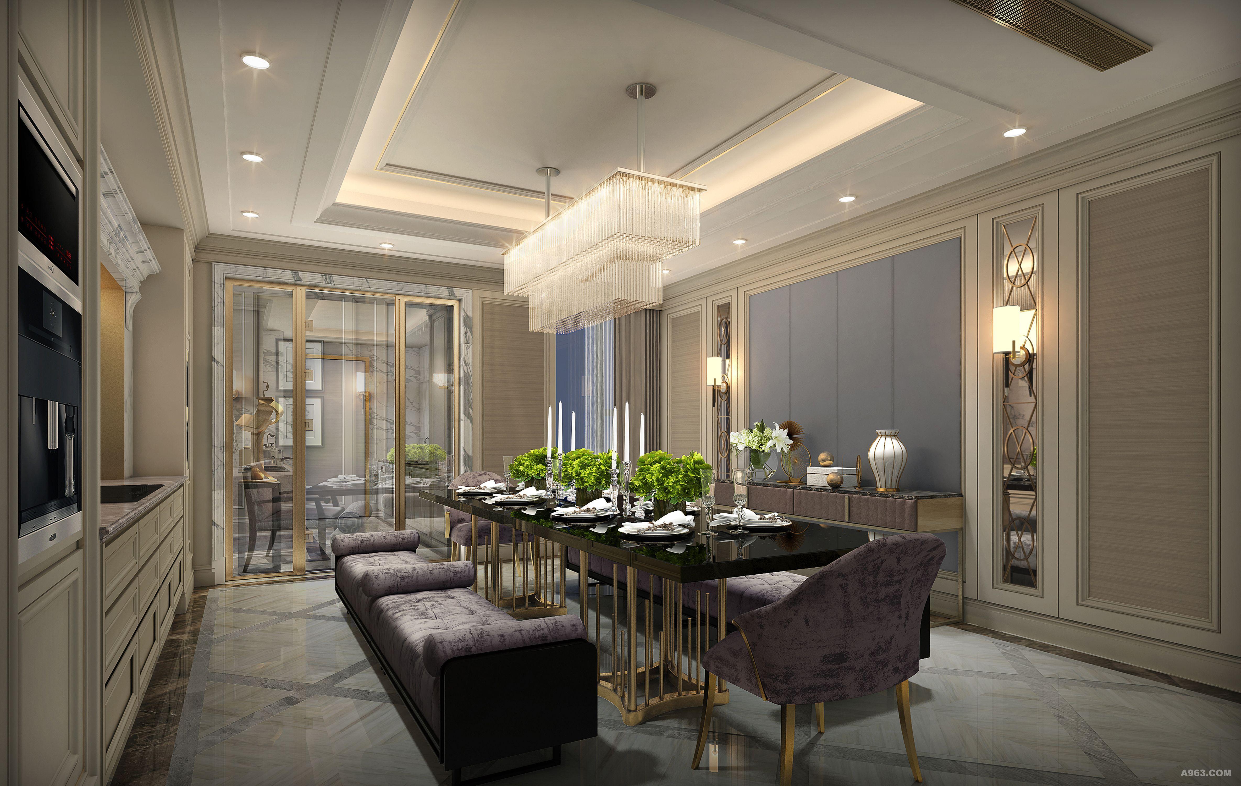 餐厅空间的设计,回归了初始的欧式情怀,皮质的质感与布艺融合,都混进
