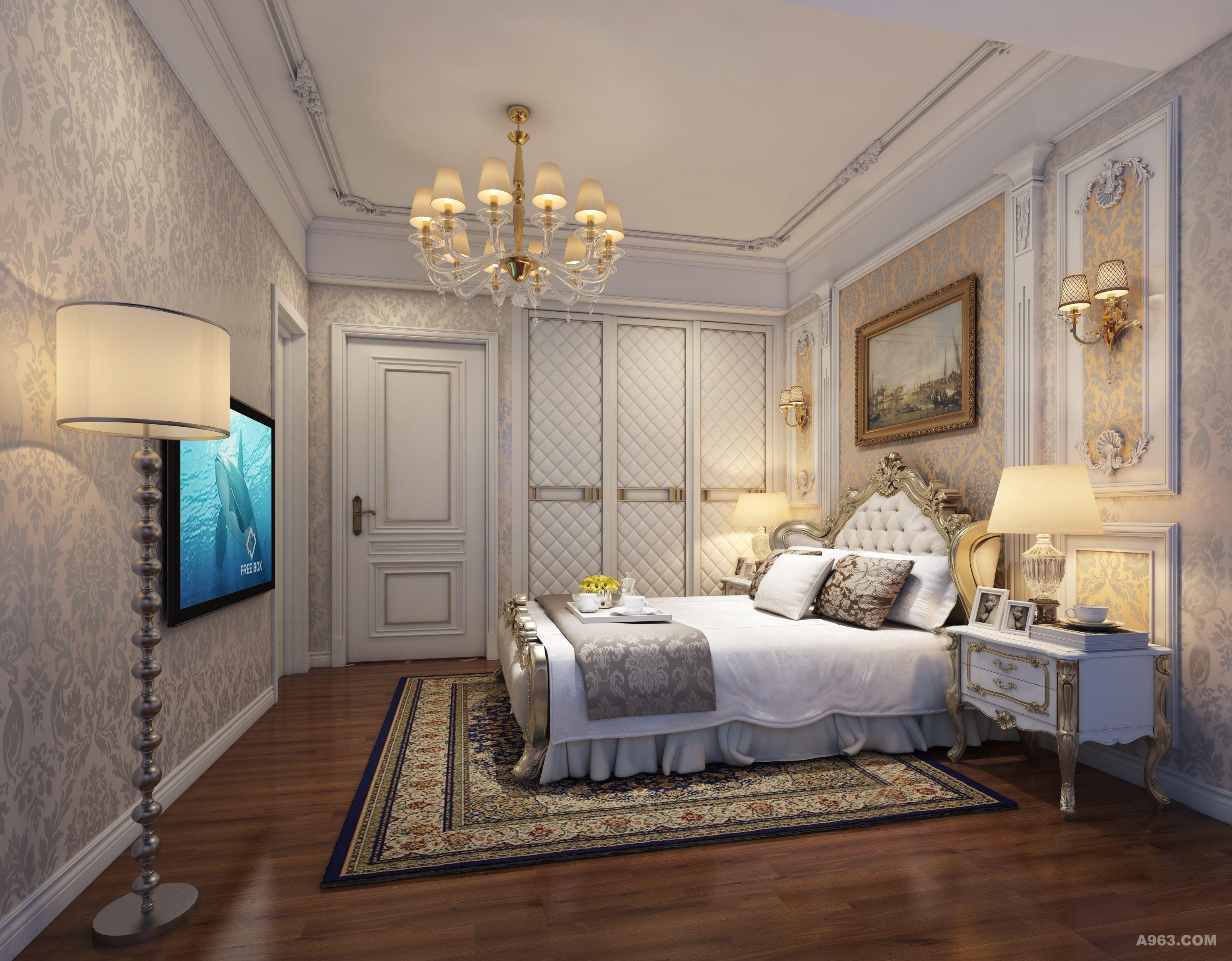 这是一个低调奢华的空间,经典的艺术涂料为基调,印花和线条才是这个舞台的主角。平板叠级和石膏线的吊顶中,缀以水晶球的吊灯,仿佛冬季里轻舞飞扬的雪花,老榆木家具灯光洒下来,空间里飘洒着银装素裹的精致。繁花似锦的壁纸,奢华的装饰画,敦厚精美的床,都能带出古典欧式风格特有的质感。卧室的整体感觉端庄优雅,仿佛将人带入十八世纪保守意大利贵族的舞会中,欧式风格也是最能体现身份地位的一种风格。欧式装修风格是最能彰显高贵气质了客厅到卧室,每一处都是那么光鲜照人,无一处不为之惊叹不已,多么豪华,多么高贵啊!欧式卧室装修稳重