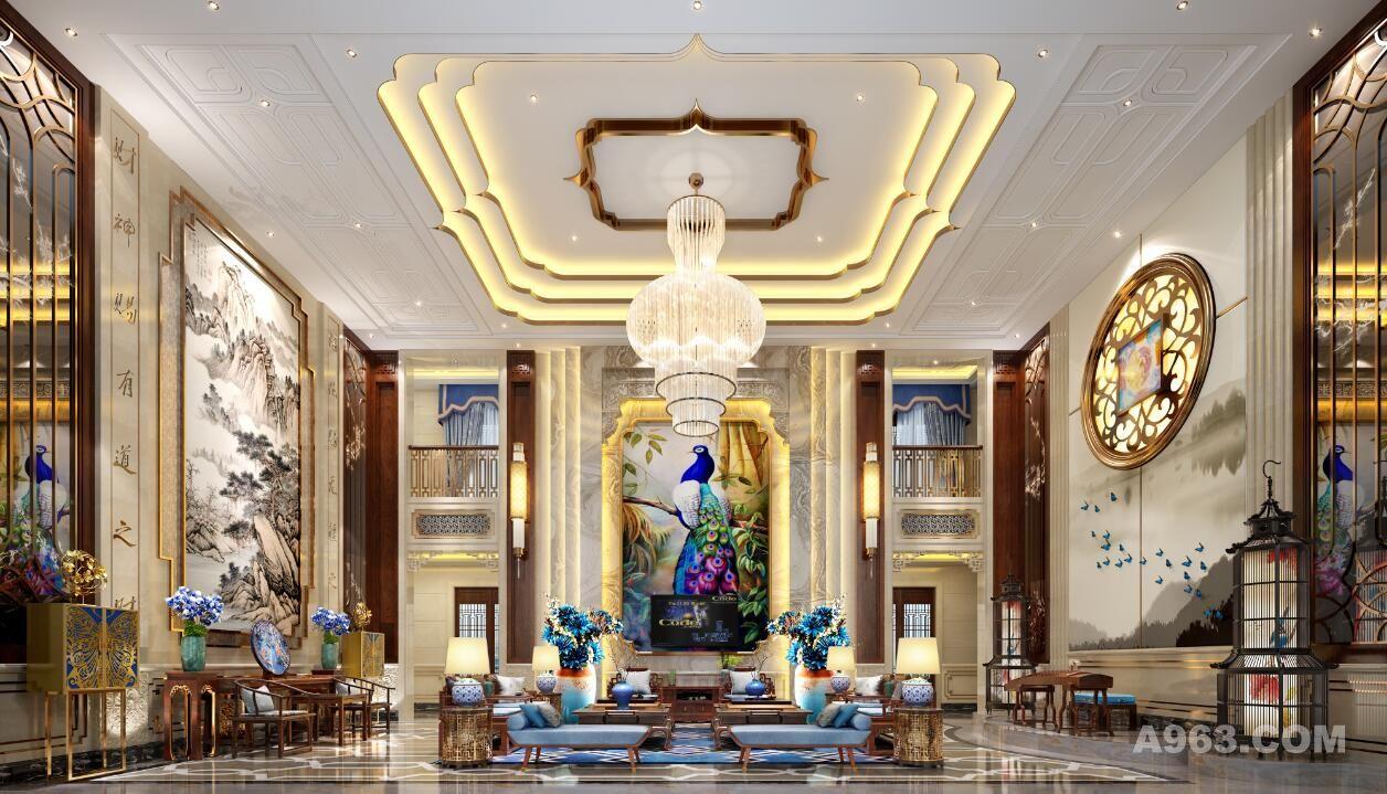 该项目是采用新的设计手法,打破常规,吧石材,木饰面和铜艺等结合中式文化底蕴,淋漓尽致的体现出新东方文化的精髓,是艺术灵魂的体现,光源的巧妙运用让空间的层次感更加犀利,背景的画和软装抱枕,和鸟笼灯笼的呼应,蓝色系跳跃整个空间,色调冷暖对比的视觉冲击