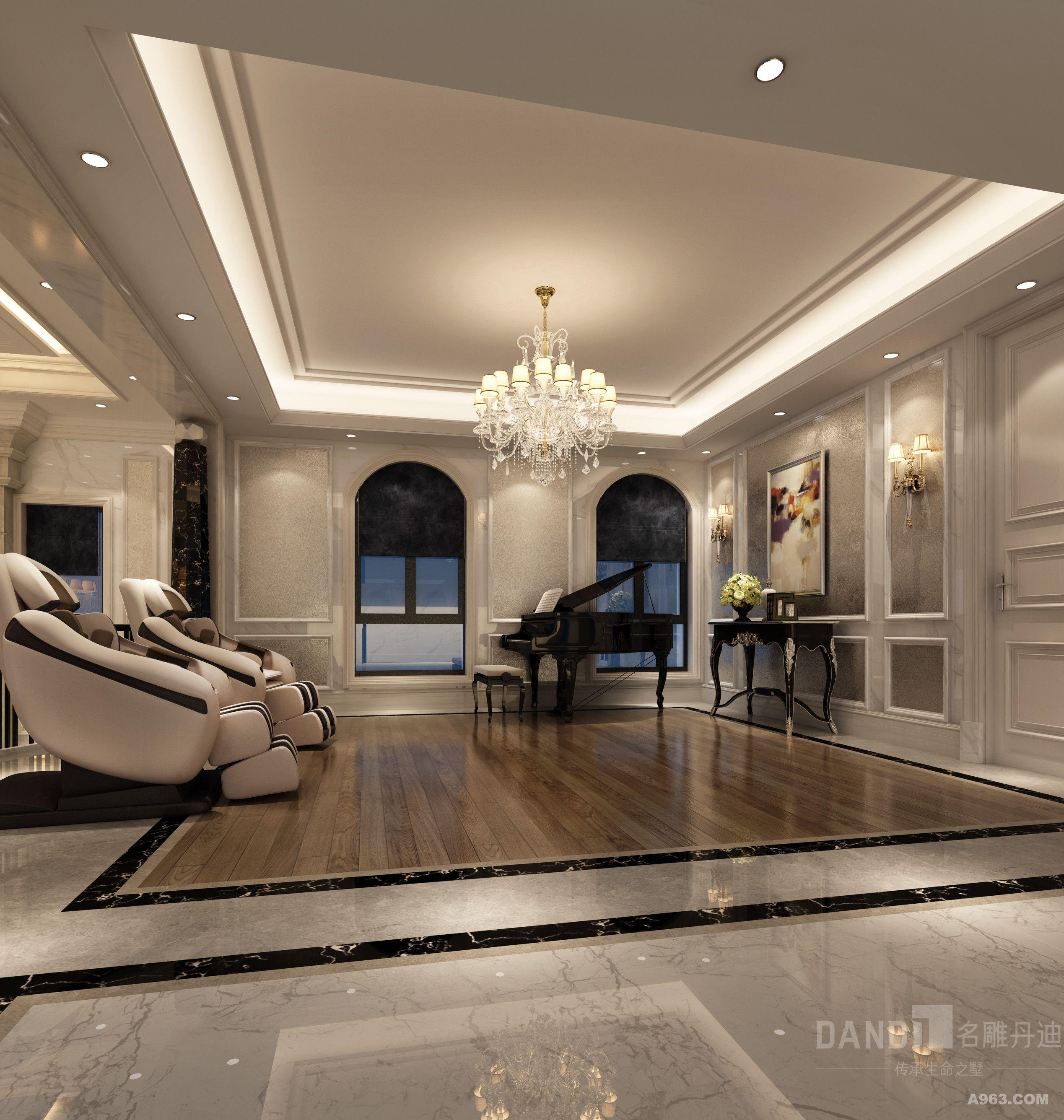 步入客厅,屋顶的装饰处理和皮质沙发,成熟硬朗的灰色地毯透露出欧式风
