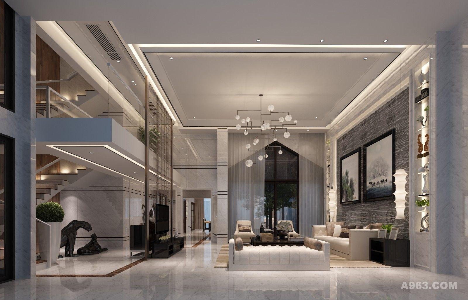 客厅以简洁示人,简练直挺而富有生命悦动感的迷人线条,硬朗的墙面与柔软的家私形成强烈的对比,凸显出经典与现代的交织感。
