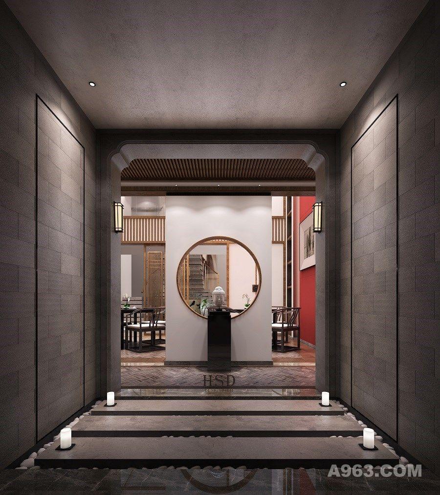 中式茶会所 , 前厅  步入会所,一尊佛像端景。空气中平静、淡泊的气息迎面而来,那种无声的平静,放松自在,仿佛正在被洗涤般心灵已找到回归...