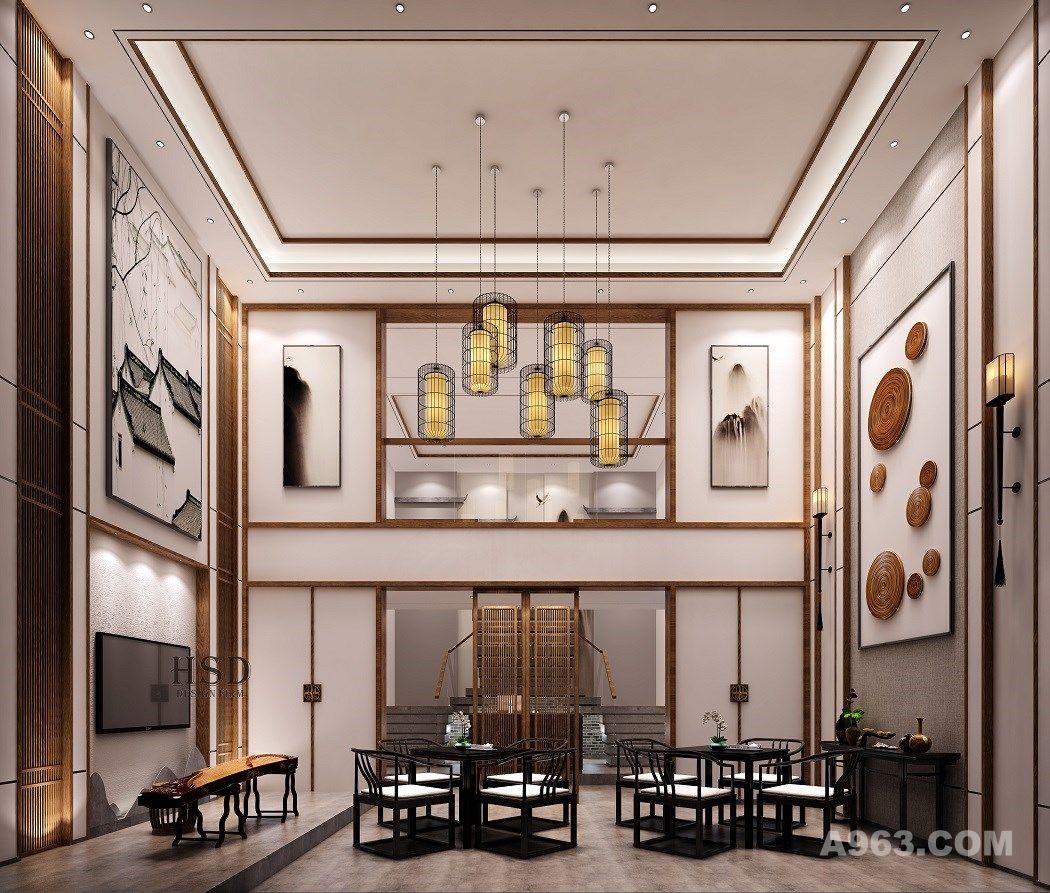 中式茶会所 , 待客厅,大厅  大厅的设计采用对称的设计手法,传达出东方的秩序美学。