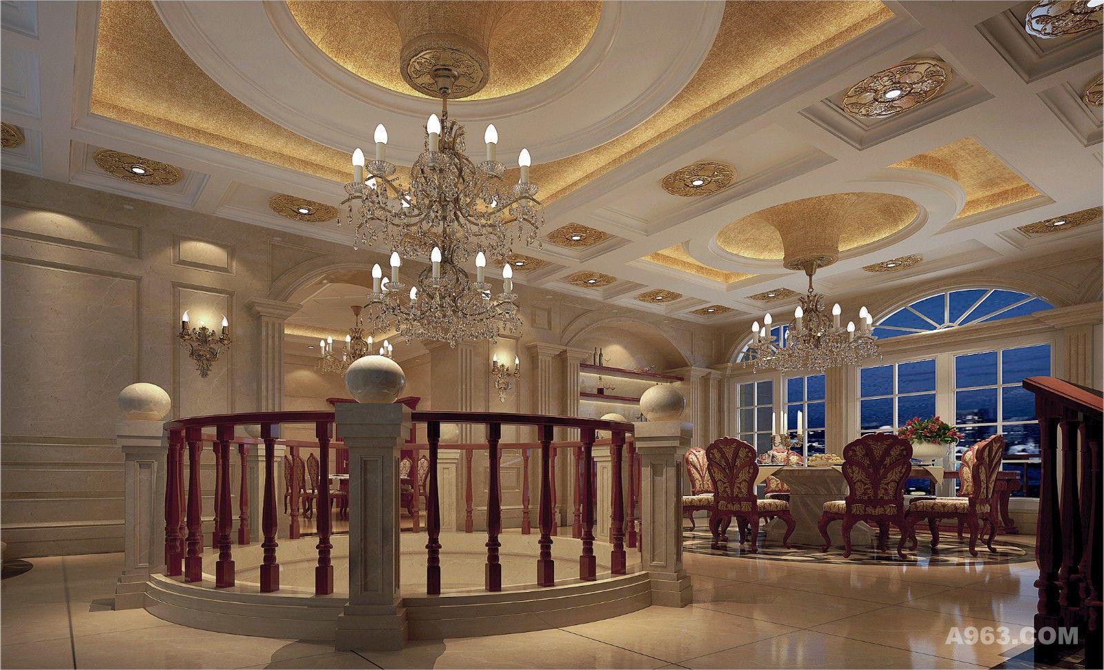 餐厅的天花设计特别的别致 不规则的圆柱为这个规整的空间注入了一份跳脱感