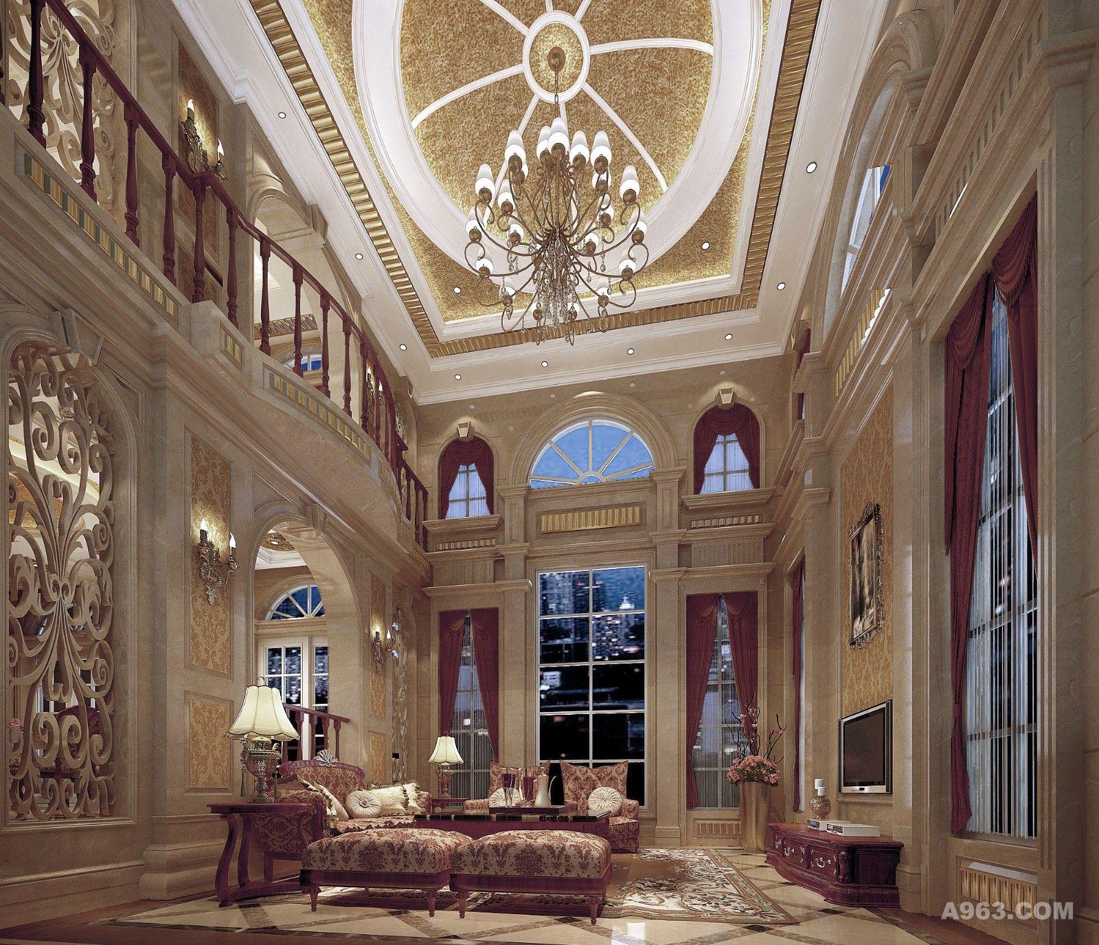 米白色的大理石与暖黄色的额天花遥相呼应 朱红色的窗帘与沙发也是统一规划 镂空的墙壁雕花给空间带进了通透感 整个空间显得大气统一 又暗中透露出一份低调的奢华