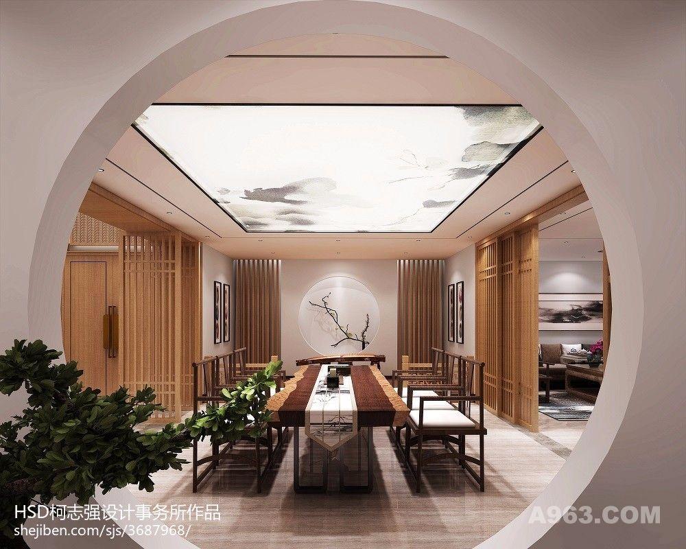 新中式茶会所,茶艺展示区,品茶区