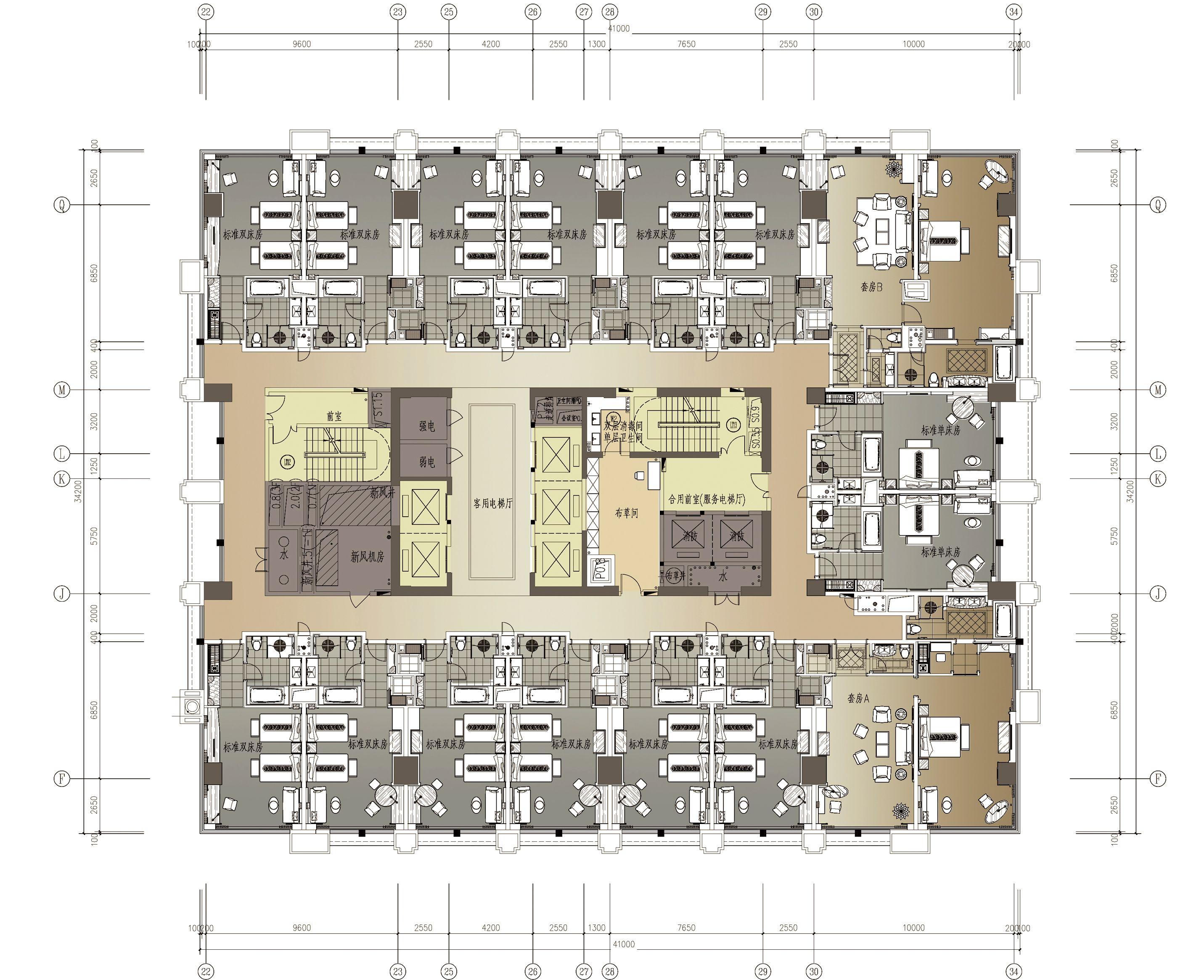 手绘饭店平面图