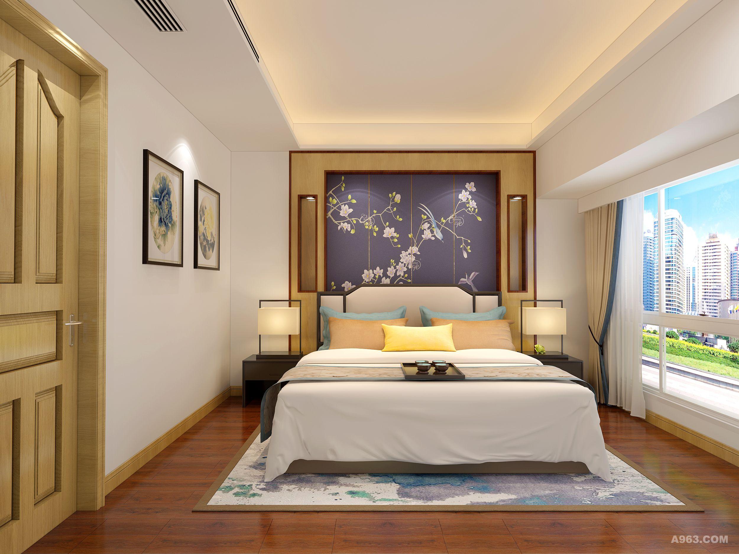 主卧室的实木纹理配合柔和的灯光,突出主人低调的品味;