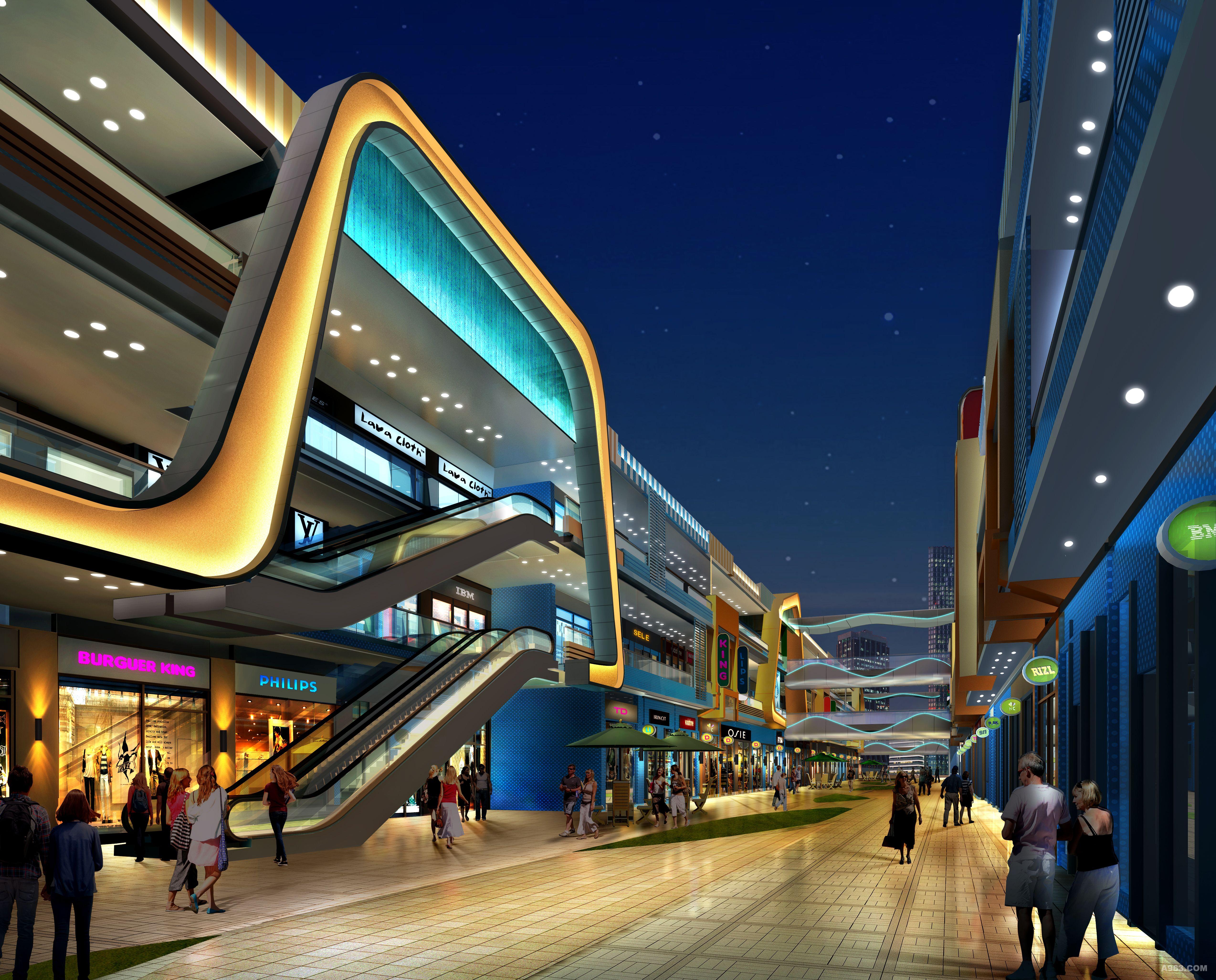 桂林高新万达广场夜景照明设计效果图